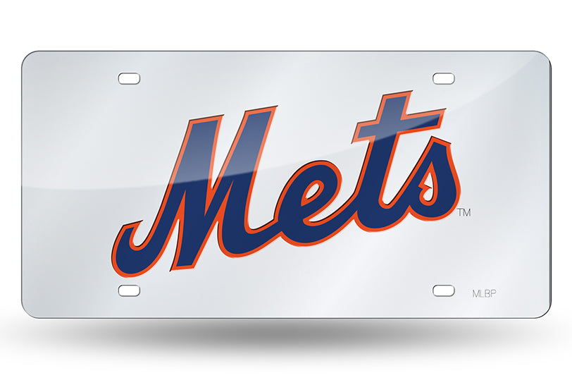 MLB New York Mets Laser License Plate Tag - Silver