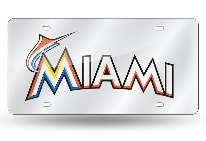 "MLB Miami Marlins ""Wordmark"" Laser License Plate Tag - Silver"