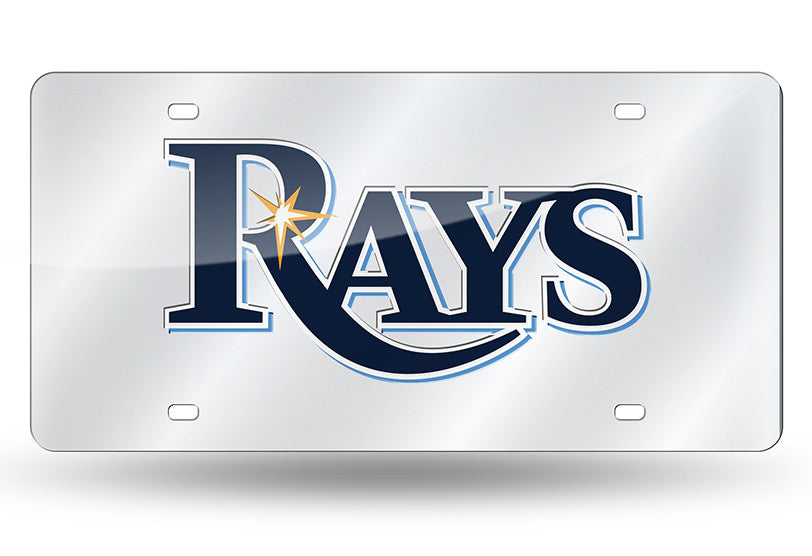 MLB Tampa Bay Rays Laser License Plate Tag - Silver - Hockey Cards Plus LLC