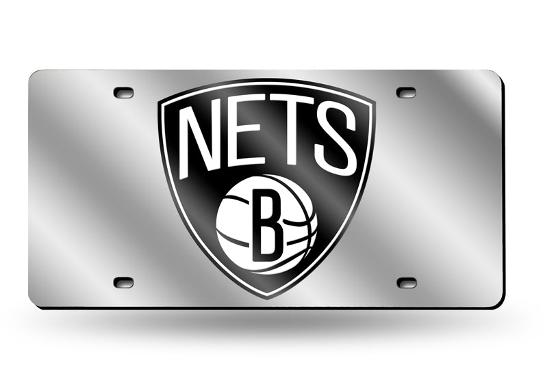 NBA Brooklyn Nets Laser License Plate Tag - Silver