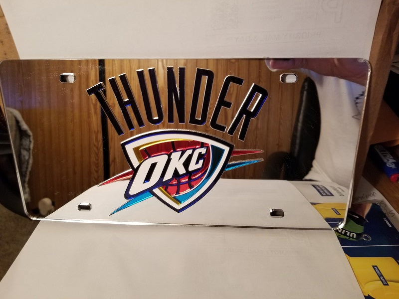 NBA Oklahoma City Thunder Laser License Plate Tag - Silver