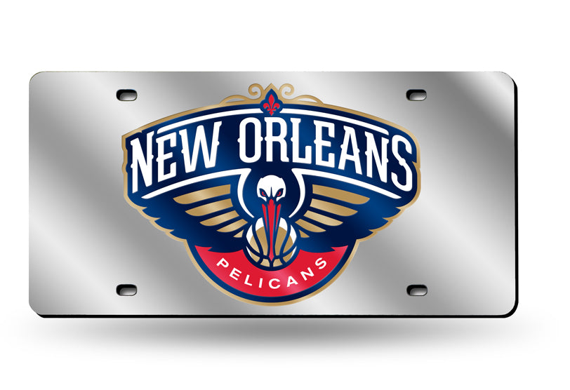 NBA New Orleans Pelicans Laser License Plate Tag - Silver