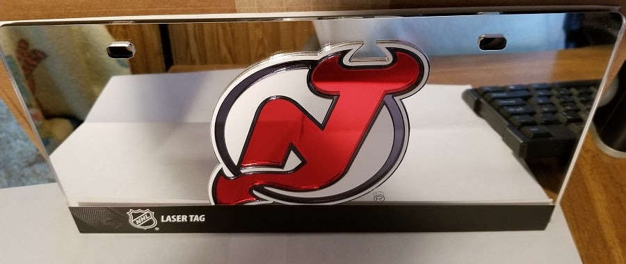 NHL New Jersey Devils Laser License Plate Tag - Silver
