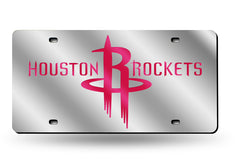 NBA Houston Rockets Laser License Plate Tag - Silver