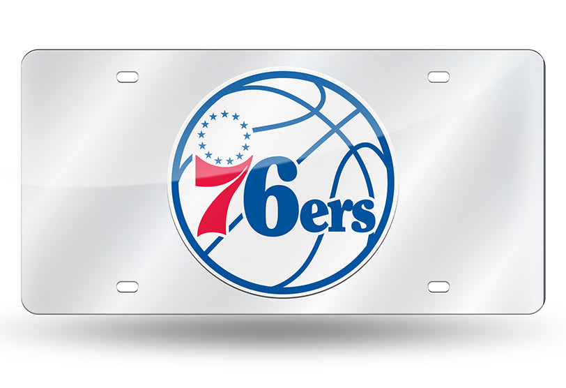 NBA Philadelphia 76ers Alternate Laser License Plate Tag - Silver