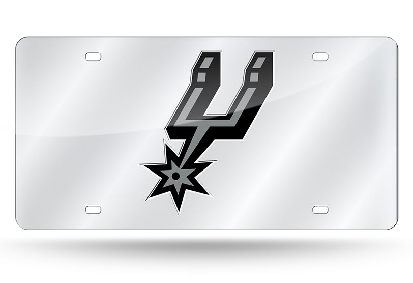 NBA San Antonio Spurs Laser License Plate Tag - Silver