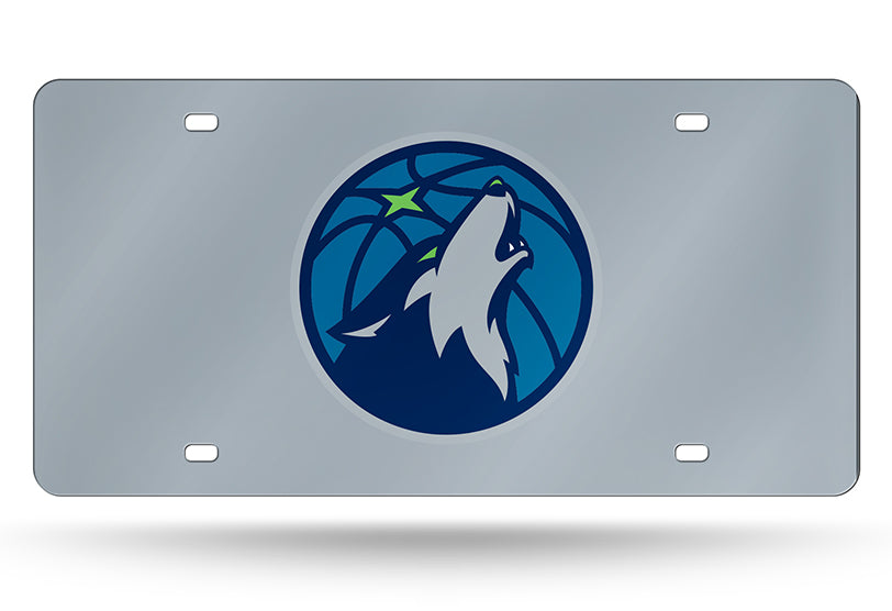 NBA Minnesota Timberwolves Laser License Plate Tag - Silver
