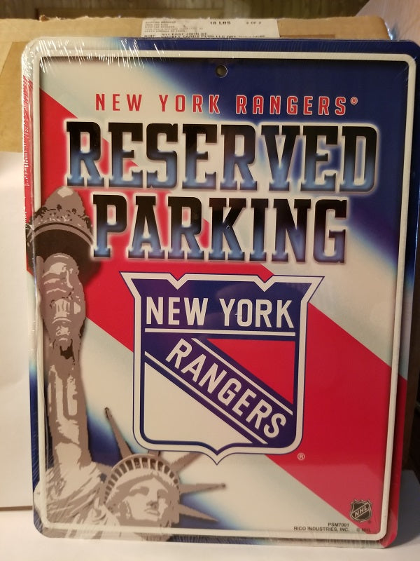 "NHL New York Rangers Metal ""Reserved Parking"" Sign"