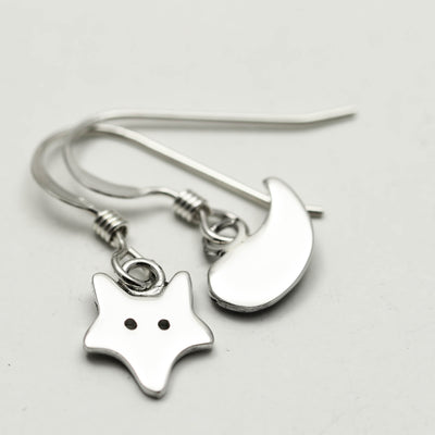 Sterling Silver Mis Matched Fox Earrings