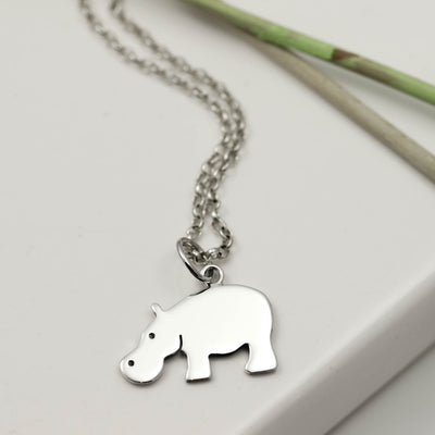 Sterling Silver Hippo Necklace