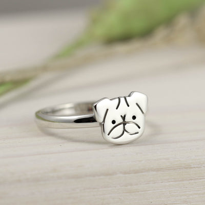 Handmade Sterling Silver Pug Ring