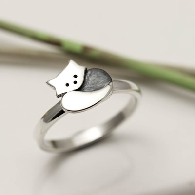 Sterling Silver Red Panda Ring