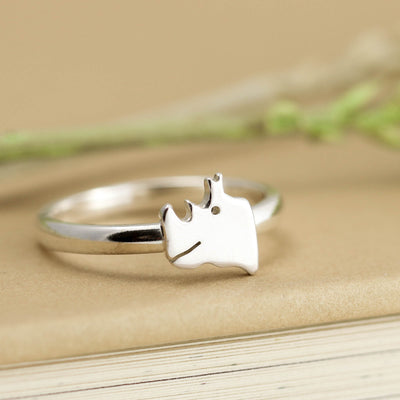 Sterling Silver Rhino Ring