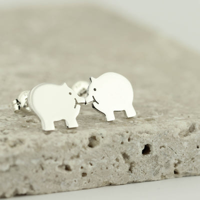 Handmade Sterling Silver Piggy Earrings