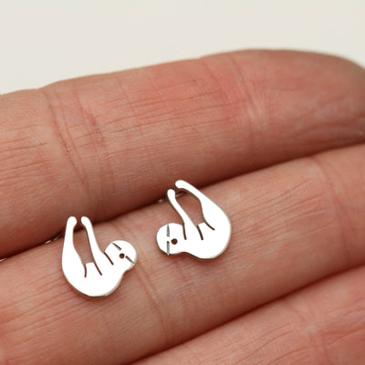 Sterling Silver Sloth Stud Earrings