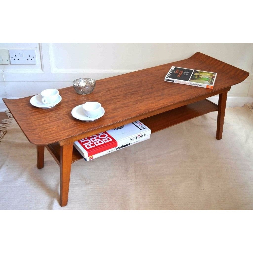 Twotiered Curved Coffee Table Vintage Danish Style Shufflepad