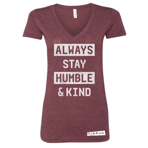 Humble & Kind Maroon Ladies V-Neck