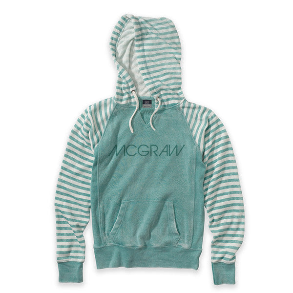 MCGRAW Ladies Green Striped Hooded Sweater
