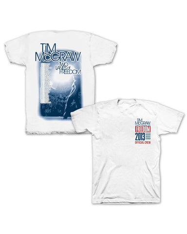 Two Lanes of Freedom Tour Crew White T-Shirt