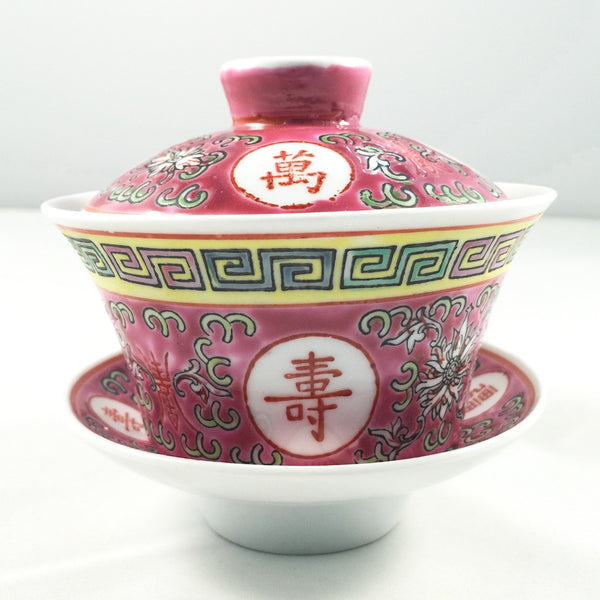 Eternal life traditional porcelain gaiwan - Red