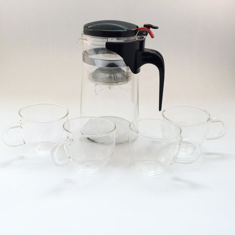 Glass tea maker (750ml) with infuser and glass tea cups (a set of 4 cups)