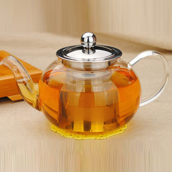 Glass teapot and glass tea cups (a set of 2 cups)