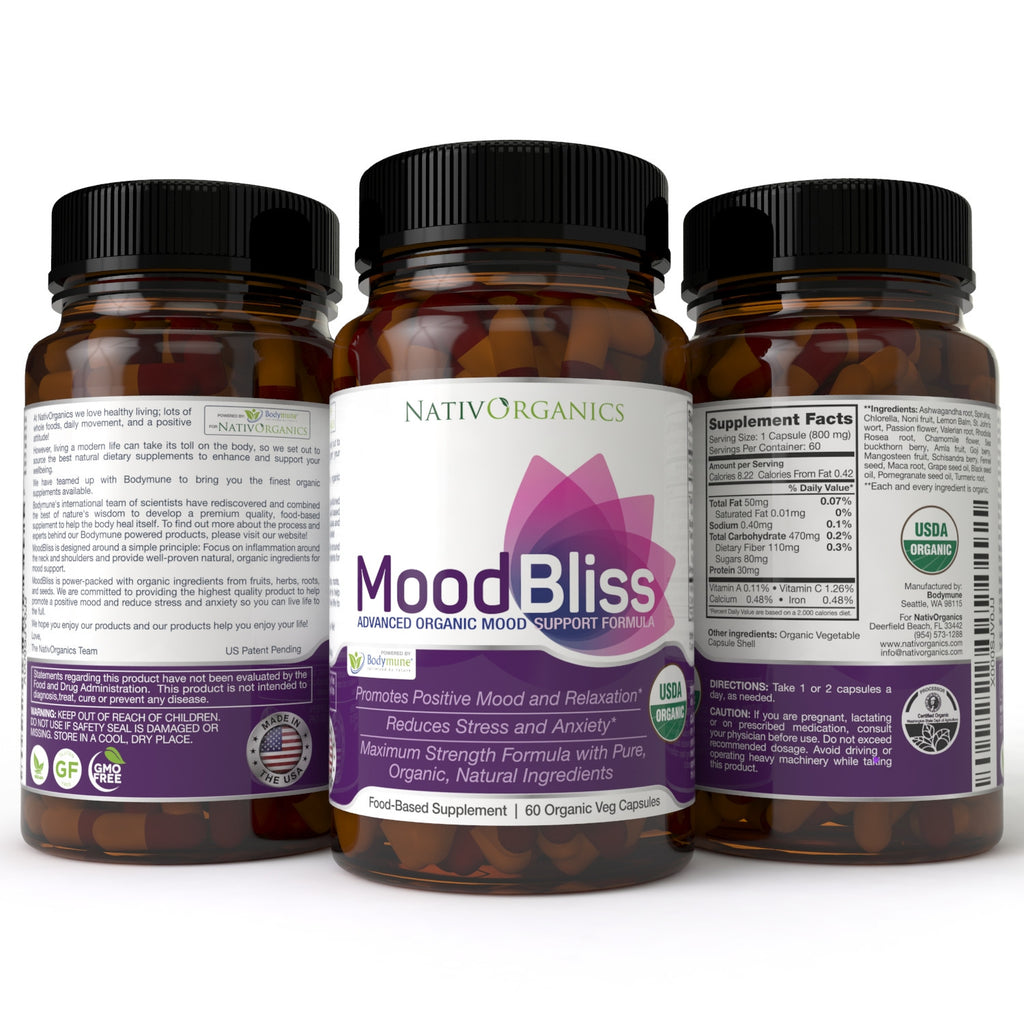 MoodBliss - Natural, Organic Anxiety and Stress Relief Supplement