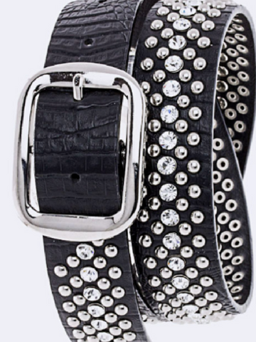 Crystal Studded Black Leather Belt