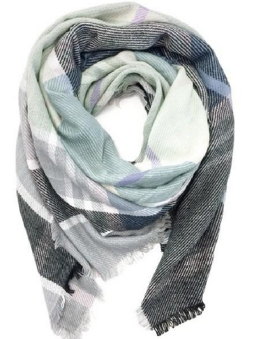 Gray Multi Colored Blanket Scarf