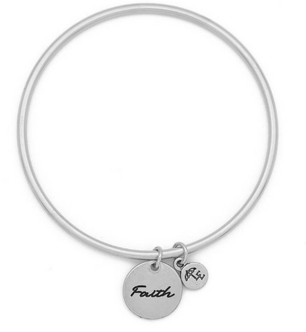 """Faith"" Token Bangle Silver"