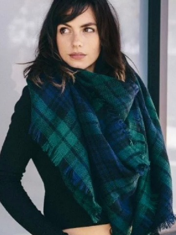 Green & Navy Blanket Scarf