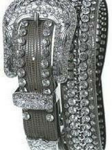 Etched Rhinestone Studded Leather Belt