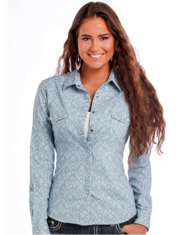 Denim Printed Long Sleeve Snap
