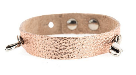 Rose Gold Leather Cuff Silver