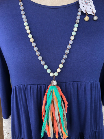 Beaded Tassel Necklace Set (Multiple Colors)