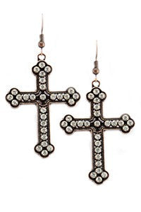 Crystal Cross Dangle Earrings