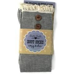 Gray With Buttons and Crotchet Top Boot Sock