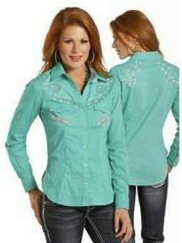 Turquoise and Rhinestone Snap-up Shirt