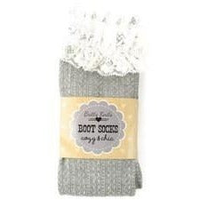 Light Gray With Lace Boot Sock