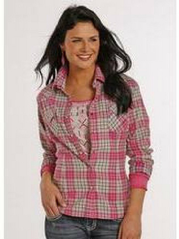 Pink and Cream Brushed Plaid Long Sleeve Snap Front Shirt.