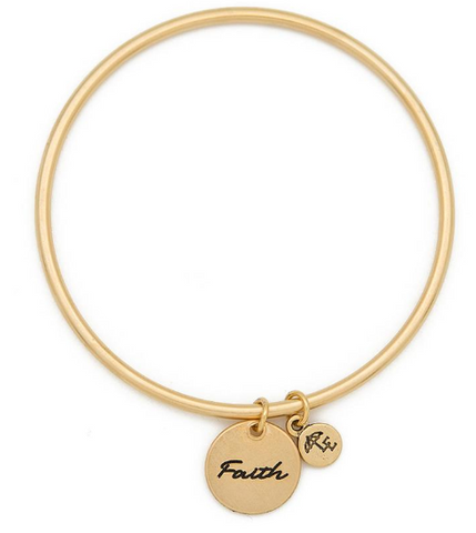 """Faith"" Token Bangle Gold"