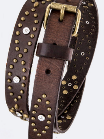 Brown Studded Leather Belt