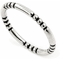 Stackable Bead & Bar Sterling Silver Ring