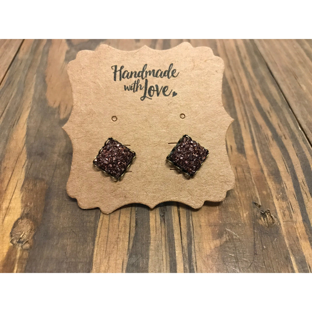 Chocolate Square Druzy Earring Set 10mm
