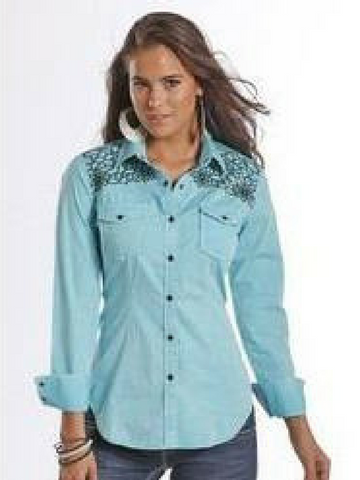 Rock & Roll Cowgirl Long Sleeve Snap Turquoise