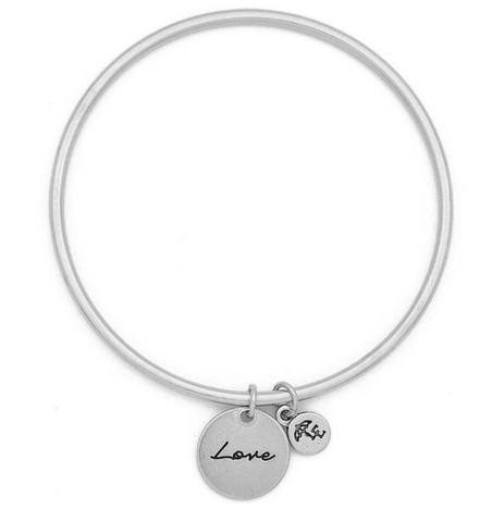 """Love"" Token Bangle Silver"