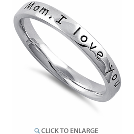 Mom, I love you Sterling Silver Ring