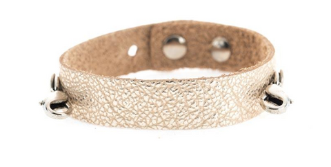 Champagne Leather Cuff Silver
