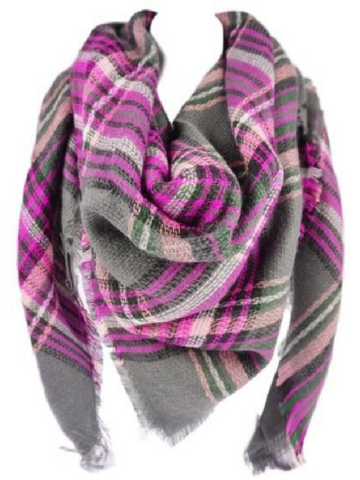 Fuschia & Gray Blanket Scarf