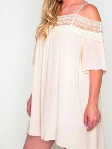 Cold Shoulder Lace Top Dress
